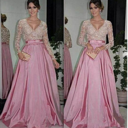 Wholesale Gold Belted Evening Gowns - Mother of the Bride Dresses Evening Dresses Long Sleeves V Neck Beaded Bodice Ruffled Taffeta A-Line Ball Gowns Evening Gowns with Belt