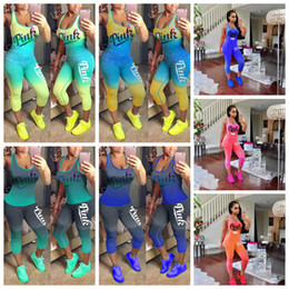 Wholesale Soccer Pants Wholesale - Love Pink Letter Tracksuits 10 Styles Gradient Color Sleeveless Tank Top Vest Tights Pants Women Summer 2pcs Jogger Suits OOA5118