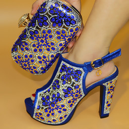 Wholesale Women Italian Shoes - Italian Royal Blue Shoes Matching Bag Set Fashion Lady Shoes 2018 high Heels With Stone Free Shipping