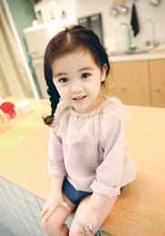 Wholesale Lotus Classic - 2018 INS new style baby kids cotton solid color cute Lotus leaf collar long sleeve T-shirt kids spring autumn clothing free shipping