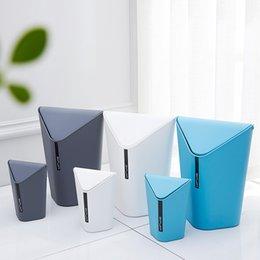 Wholesale Bathroom Bins - Creative Fashion Home Use Office Hooded Desktop Mini Plastic Trash Can Kitchen Bathroom Corner Waste Bins Cleaning Storage Box