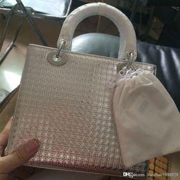 Wholesale Lady D Handbag - Luxury brands D Hollow out bag lady cd designer fashion bags women real leather purses silver duffle women messenger bags handbags 24cm