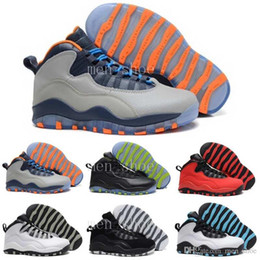 Wholesale X Cork - 2017 cheap man basketball shoes air 10 X Chicago Steel Grey Powder Blue sport sneaker shoes,For online sale us size 8-13