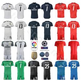 ef040d62b Real Madrid Goalkeeper GK La Liga 1 Keylor Navas Jersey Set Soccer 1 Iker  Casillas 13 Casilla Thibaut Courtois Football Shirt Kits Uniform