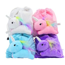 Wholesale Candy Colours - Storage Bags Cartoon Unicorn Plush Colour Threedimensional Small Change Shrink Comic Pony Doll Drawstring Bag Popular 12 5cr V