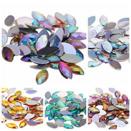 Canada 1000pcs 4x8mm Acrylique Cheval Eye Terre Facettes AB Couleurs 3D Nail Art Strass Non HotFix Pierres Flatback pour Ongles Décoration Offre