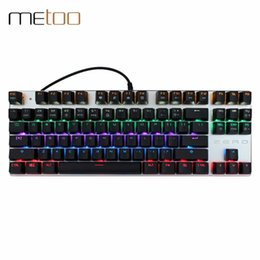 Wholesale Wired Backlit Keyboard - Mechanical 87 104 Keys Anti-ghosting Luminous Blue Black Switch LED Backlit Wired Gaming Keyboard