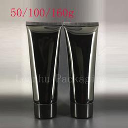 2019 dekorierte plastikflaschen 50g 100g 160g Leere Schwarze Weiche Squeeze Kosmetische Verpackung Nachfüllbare Kunststoff Lotion Creme Rohrschraube Deckel Flasche Container