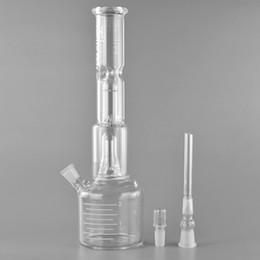 Conectores de coelho on-line-Oi Si Taça de Vidro de Base de Gelo Pitada duplo percolate reciclar tubos de água de vidro com 12.5 polegadas de medição do nível de água Preciso