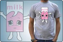 Тележки онлайн-футболка MILKY LAIT CARTON FRAISE TACHE café ET TV HOMME FEMME ENFANT NEUF 2018 Высококачественный бренд мужской футболки мужские футболки