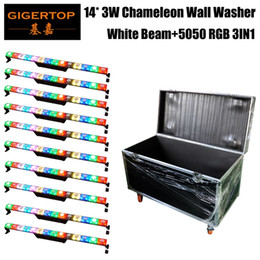Wholesale white wall 14 - Flightcase Packing Free Shipping 14*3W led Wall Washer Light 100W Powerful Indoor Led Lamps Linear Bar Lamp Warm White RGB