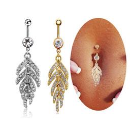 piercings sexy del tasto della pancia Sconti Donne Sexy Leaf Feather ciondola ombelico anelli in acciaio inox piercing all'ombelico Moda gioielli corpo 2 colori G89LR