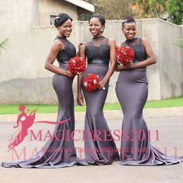 encaje gris africano Rebajas Vestidos de dama de honor de sirena gris sexy apliques de encaje de cuello alto rebordear tren de barrido de satén para mujeres africanas negras barato vestido de noche de baile vestido