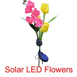 Wholesale solar top - Solar butterfly orchid Phalaenopsis Flower LED Light 5 Heads Artificial Flowers Lawn Lamps Vivid Garden Solar Energy Lights Top Quality