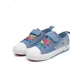 In vendita Primavera 2018 Scarpe casual da bambino per bambini Scarpe da ginnastica denim viola moda Ragazzi ragazze adolescenti Scarpe da ginnastica per bambini Taglia 25-37 da