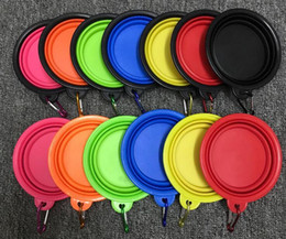 Wholesale hot dog water - Dog Bowls Hot Dog Folding Collapsible Feeding Bowl Silicone Water Dish Cat Portable Feeder Puppy Pet Travel Bowls