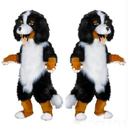 Historieta de la fiesta de las aduanas online-Envío rápido nuevo diseño Custom White Black Sheep Dog Mascot Costume Cartoon Character Fancy Dress para party supply Adult Size