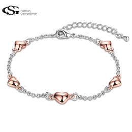 Wholesale Gs Jewelry - GS Women Bracelet Fashion Wedding Jewelry Chain 5 Lovely Lucky Rose Gold Hearts Bracelets Simple Pulseras Mujer