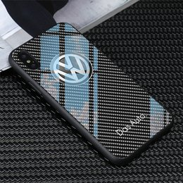 Iphone vw on-line-Frete grátis tpu + vidro temperado vw logotipo phone case para iphone x xr xs max 7 6 s 8 plus samsung s8 s9 s10 além de nota 8 9 casos huawei p30 pro