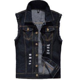450a6390954d8 Denim Vest Mens Sleeveless Jackets Fashion Washed Jeans Waistcoat For Mens  Tank Top Cowboy Male Ripped Jacket Plus Size 6XL