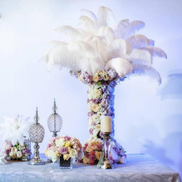 Wholesale feather centerpieces - Wholesale 100pcs lot 6-24inch(15-60cm) White ostrich feathers for Wedding centerpiece Table centerpieces Party Decoraction supply