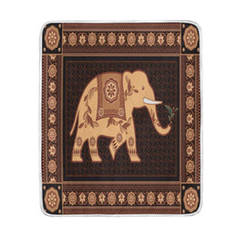 indian bedding Coupons - Vintage Indian Elephant Brown Blanket Soft Warm Cozy Bed Couch Lightweight Polyester Microfiber Blanket for Kids Women Boy