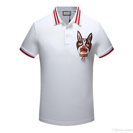 Wholesale painted tiger - 2018 summer fashion polo men's designer brand T-shirt embroidered tiger short-sleeved T-shirt men's youth T-shirt