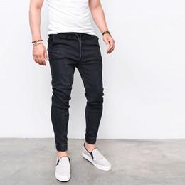 Wholesale Fly Sportswear - 2017 Envmenst Fashion Men's Harem Jeans Washed Feet Shinny Denim Pants Hip Hop Sportswear Elastic Waist Joggers Pants
