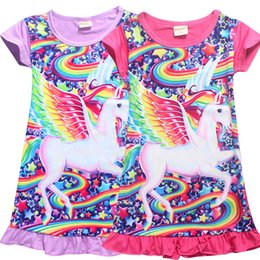 Wholesale 4t nightgown - Unicorn Medium Length Skirt for Girls Baby Kids Girls Dress Unicorn Cartoon Nightgown Dress 4 Color for Children NewestT LC725