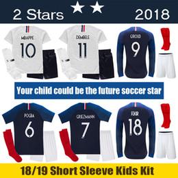 2018 conjunto 18 19 França crianças Kit 2018 GIROUD França MBAPPE Crianças  Uniformes de Futebol 2019 dc6e378958714