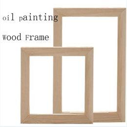 Pintura a óleo tamanho grande on-line-Moldura de madeira para a pintura a óleo da lona natureza da madeira DIY personalizado quadro tamanho grande imagem interior sem a pintura40x50 cm