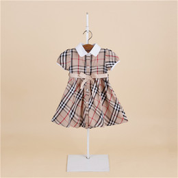 Wholesale Tulle Clothing Wholesale - 2018 kids clothes Girls summer models dress princess skirt short-sleeved plaid children's dress child dress