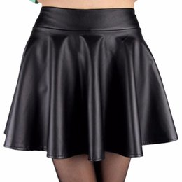 Wholesale Flared Leather Skirt - Women High Waist Faux Leather Mini Skirt Above Knee Solid Color Flared Pleated Short Women' Skirt New Sale