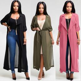 Wholesale Long Beach Cover Up Dresses - 2018 Summer Women Bikini Blouse Beach Cover Up Fashion Long Sleeve Cardigan Chiffon Shirt Dress 3 colors ladies Loose Coat