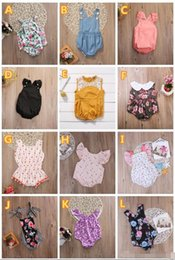 Wholesale White Sleeveless Onesies - 2018 summer infant baby girls flower rompers animal onesies kids jumpsuit toddler bodysuit wholesale baby clothes boutique clothing 0-24M