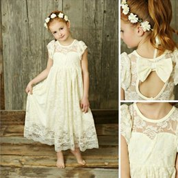Vintage Lace Flower Girls Dresses Sheer Jewel Neck Ruffles Sleeveless Open Back  Small Bow Ankle Length Kids Formal Gowns Custom Made 5948e47bb