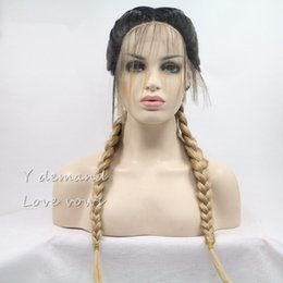 Wholesale Rooting Baby - Blonde With Dark Root Double Braids Synthetic Braided Lace Front Wig with Baby Hair Wig Heat Resistant Fiber Middle Part