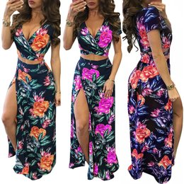 Vestidos largos de dos piezas aberturas online-Las mujeres floral del verano rajó vestido largo impreso Maxi vestido de la playa Mujer Camisa corta de dos piezas Vestido de tirantes Vestidos