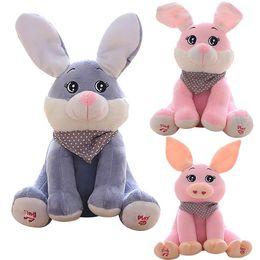 Wholesale Pink Animated - Funny Stuffed Toys Soft Dolls Kid Gift Baby Peek-a-boo Rabbit Plush Toy Stuffed Pink Animated Kids Singing Toy New Year Gift