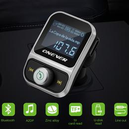 Wholesale Flac Mp3 - Onever Car MP3 Player FM Transmitter Wireless Bluetooth FM Modulator Handsfree Car Kit LCD Radio Audio 3.5mm AUX Adatper FLAC