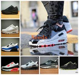 Zapatillas de hombre de cuero blanco online-2018 moda cojín de aire 90 hombres mujeres zapatillas 90s negro de cuero rojo blanco entrenador infrarrojo transpirable deporte zapatilla de deporte 5.5-12