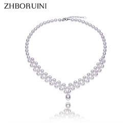 Wholesale Sterling Silver Chokers For Women - whole saleZHBORUINI 2017 Pearl Necklace Natural Freshwater Pearl Choker Necklace Jewelry 925 Sterling Silver For Women