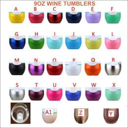 Flautas de oro online-Vasos de vino con tapa de 9 oz 68 COLORES 6 oz Copas de flauta Huevos de coche 304 Vaso de vino de acero inoxidable Termo de oro rosa Tazas de café