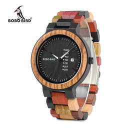 Wholesale Face Displays - BOBO BIRD Wood Watches Men V-P14-1 Unique Quartz Wristwatch Black Face Date Display with Colorful Wooden Band