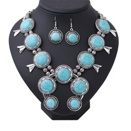 Wholesale Horseshoe Sets - Bohemia turq nature Necklace earring set jewelry Women Antique Silver big pendant Necklace jewelry western Africa boho wholesale