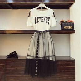 diseños de faldas para mujer Rebajas 2018 Summer Women Gauze Skirt Sets Conjunto de dos piezas Long Design Off Shoulder T-shirt Gasa Falda estudiantes Holiday Outfits
