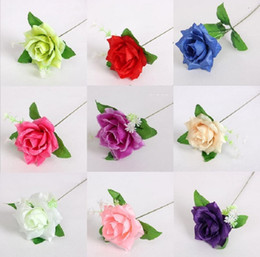 "Wholesale Silk Rose Bouquets Weddings - 50pcs 3"" Rose Leaf Rod Artificial Silk Flower For Wedding Bridal Bouquet Home Decoration"