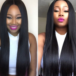 Wholesale Glueless Lacefront Wigs - Malaysian Hair Wigs 7A Grade Malaysian Virgin Human Hair Glueless Silky Straight Lace Front Wig Lacefront Wig For Black Women