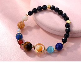 Wholesale planet charm bracelet - Women Universe Galaxy The Eight Planets In The Solar System Guardian Star Bracelets Natural Stones Beaded Charm DDA501