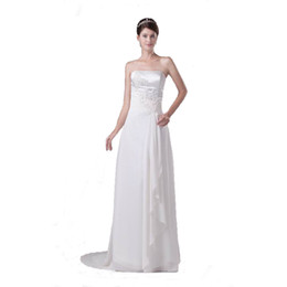 Wholesale Corset Wedding Dress Sheath - Vintage Design Strapless Ivory Satin Wedding Dress With Lace Appliques Sweep Train Corset Back Bridal Gown